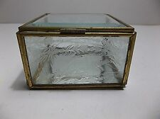 Vintage Art Nouveau Beveled Etched Glass Trinket Box