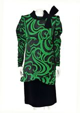 GIVENCHY Haute Couture Black & Green Silk & Velvet Cocktail Dress SIZE M