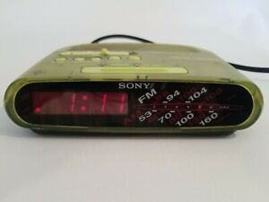 Sony Dream Machine ICF-C295 AM/FM Radio Alarm/Green Translucent /9V Back Up