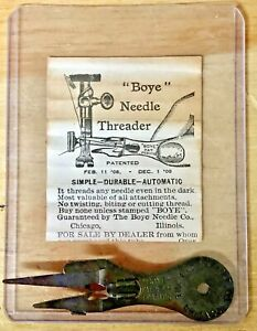 Antique 1908 Boye Sewing Machine Needle Threader w/ Instructions Wrapper Vintage