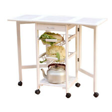 Portable Rolling Drop Leaf Kitchen Storage Island Drawers Baskets Trolley Cart