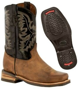Kids Unisex Western Real Leather Cowboy Boots Brown Square Toe Botas Vaquero