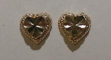 New 14k Yellow Gold Puff Heart Earring, Heart Post Earring