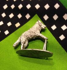 "MINIATURE VINTAGE METAL SILVER WOLF Standing VINTAGE 1 1/4"" Tall"