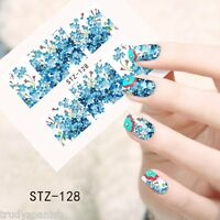 Nail Art Water Decals Wraps Blue White Summer Flowers Floral Gel Polish (128)