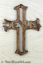 Jesus Cross, Gothic Style Wood Cross for Wall Hanging or Ornament, Item J-6