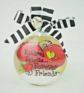 "Suzy Toronto - ""Kindred Spirits... Forever Friends"" Glass Christmas Ornament"