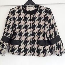 Ladies River Island Pink/Black/White  Collarless Jacket.Faux Leather trim. UK 14