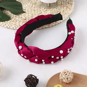Solid Satin Braided Pearl Wide Headband Fashion Handmade Cross Knotted Head Hoop
