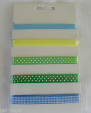 5 x 1 metre length Ribbon Green Yellow Blue Pastels Easter Spring Crafts