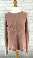 Superdry Womens Super Icarus knit Jumper In Blush With Gold Thread Size Small
