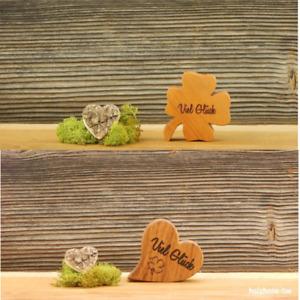 Herz Kleeblatt Viel Glück Glücksbringer Valentinstag Mitbringsel Geschenk Holz