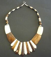 NECKLACE WOOD & BONE EFFECT PLASTIC TRIBAL STYLE