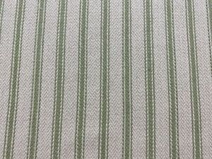 Plymouth Herringbone Ticking Stripe GreenBeige Cotton Upholstery/Curtain Fabric