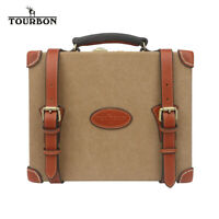 TOURBON 200 Round Shotgun Cartridge Storage Box Bullet Ammo Case Canvas&Leather