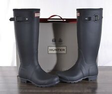 Hunter Women's Grey Matte Rubber Rain Boots Original Tall 7 MED WFT1000RMA NEW