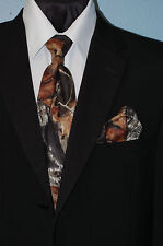 "X LONG Tall Mens Mossy Oak Camo Dress Tie Camouflage SKINNY 2 3/4 "" TUXXMAN"