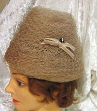 Vintage Taupe Beehive Style Netting Hat Retro