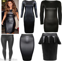 WOMENS WETLOOK LONG SLEEVE PVC LEATHER DRESS LADIES BODYCON TUNIC TOP SIZE 8-22