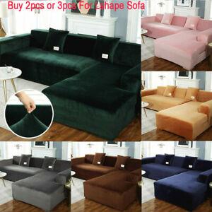 Plush Sofa Cover Velvet Elastic Corner Sectional Couch Covers L Shape Full Cover