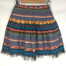 Roja Short Skirt Small S Multi-Color Multi-Pattern A-Line Boho Western Spanish