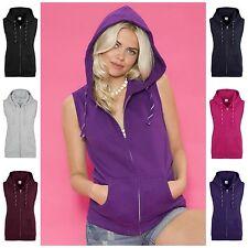 Womens Sleeveless Hoodie Gym Top Sweat Shirt Fleece Hood Fitness Exercise 6 - 16
