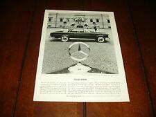 1962 MERCEDES BENZ 220 SE COUPE  - ORIGINAL VINTAGE AD