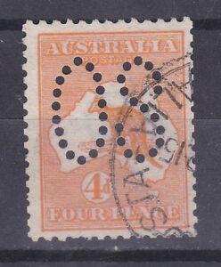 K222) Australia 1913 4d Orange Analine Kangaroo perf. large OS