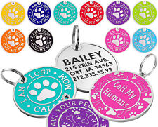 Dog ID Tag Free Custom Personalized Engraved Enamel Pet Puppy Cat Name Charm S L