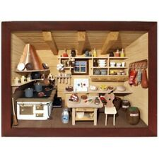 German 3D Wooden Shadow Box Picture Diorama Old Fashioned Restaurant Kitchen