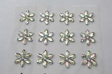 12 x 15mm Sparkling Crystal Sunflower AB Sticker Self Adhesive Flowers
