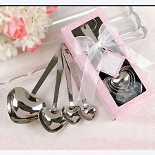 4 in 1 Heart Stainless Steel Tea Measuring Cup Spoon Baking Teaspoon Scoop Set