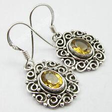 Fancy YELLOW CITRINE Earrings 3.2 CM ! 925 Pure Silver HANDMADE DANGLE Jewelry