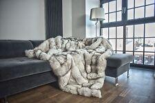 Luxury Blue Fox Real Fur Throw KING SIZE XXXL Rug Bedspread Genuine Blanket Gift