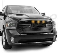 Big Horn 2+3x LED Matte Black Replacement Grille+Shell for 13-18 Dodge RAM 1500