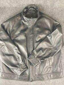 Roundtree & York Black Genuine Soft LambSkin Leather Bomber Jacket Size 2XL (/)