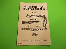 Remington Model 521T JUNIOR SPECIAL OWNER'S Instructions for Operation and Care