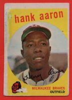 1959 Topps #380 Hank Aaron GOOD+ MARKED WRINKLE Milwaukee Braves FREE SHIPPING
