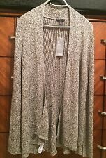 XS Eileen Fisher Black Natural Organic Linen & Wool Flutter Cardigan New $298