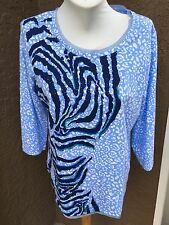 Chico's Zenergy Nora Blue Animal Embellished Top Shirt Size 3 XL 16 18