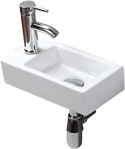 Small White Ceramic Mini Hand Wash Basin Compact Bathroom Cloakroom Toilet Sink