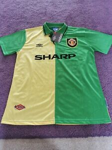 Manchester United Retro Men's Large L Football Shirt Newton Heath Green Yellow