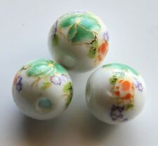 25pcs 12mm Round Porcelain/Ceramic Beads - White / Green Flowers