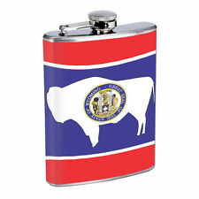 Wyoming Flask D1 8oz Hip Stainless Steel State Flag Drinking Whiskey Liquor
