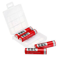 4x EBL 14500 800mah 3.7V Protected Rechargeable Li-ion Battery + Case For Torch