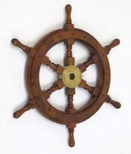"Teak Pirate Ship's Steering Wheel 18"" Solid Brass Hub Nautical Wall Decor New"