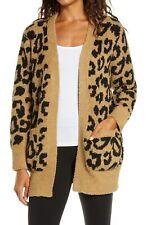 Barefoot Dreams Size Medium Cozy Chic Leopard Cardigan Color Camel Black