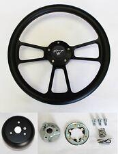 "1970-77 Mustang Steering Wheel Black Grip on Black Spokes 14"" Pony Center cap"