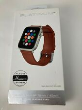 Platinum Horween Leather Band for Apple Watch 5 4 3 2 38mm 40mm Copper Brown