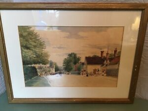 Beautiful Antique Framed Watercolour Painting-Street Scene-Unsigned-Circa 1800s